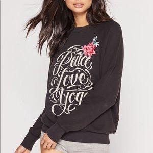Spiritual Gangster Peace Love Yoga Sweatshirt NWT